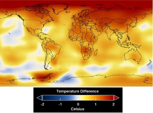 Veränderung der Durchschnittstemperaturen an der Erdoberfläche zwischen 1881 und 2009